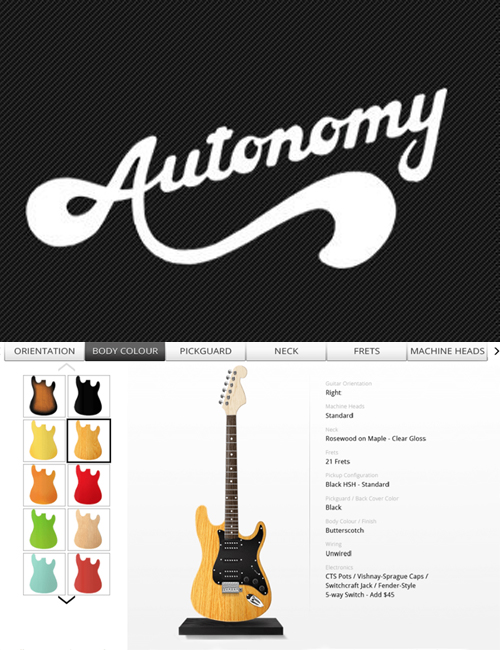 guitar store with product customization
